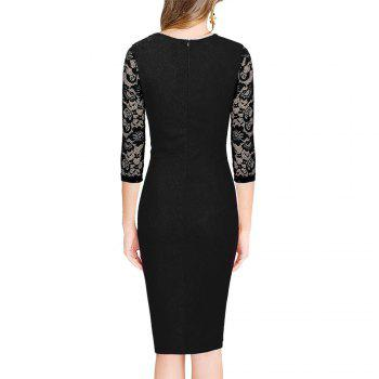 Midi Bodycon Dress With Lace Sleeves - RED L