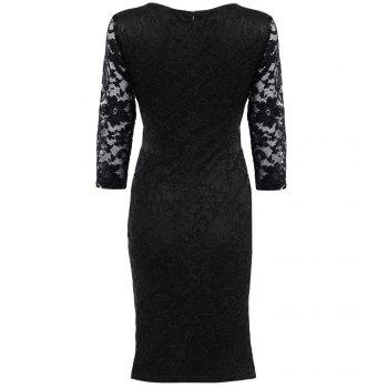 Midi Bodycon Dress With Lace Sleeves - XL XL