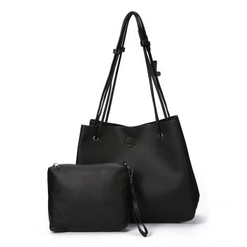 Guapabien Simple Solid Color PU Women Pocket Shopper Bag Set