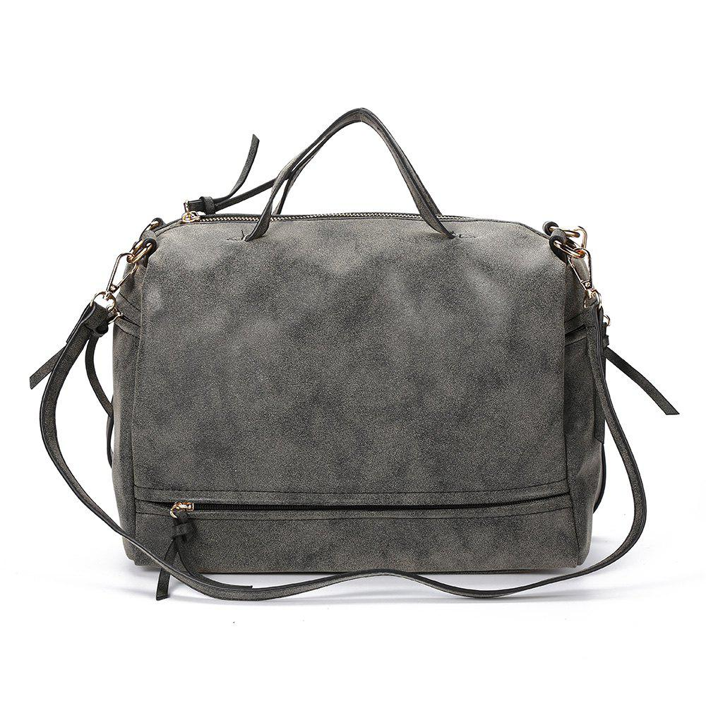 Guapabien Brief Style Pure Color Women Convertible Shoulder Bag - DEEP GRAY