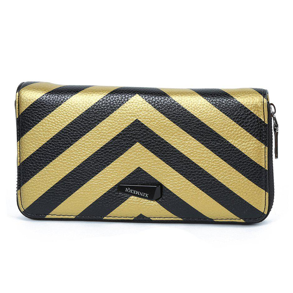 Zip Around Stripe Color Block Women Purse