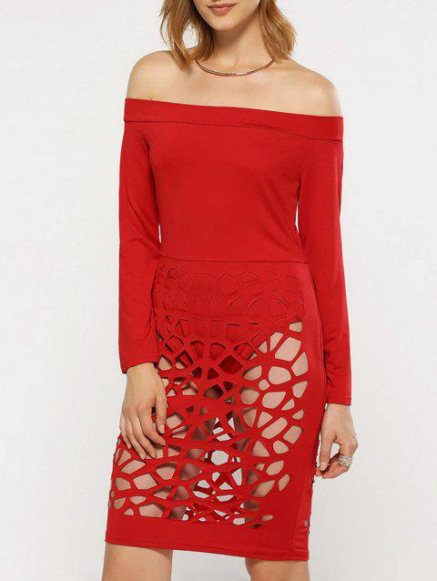 Off The Shoulder Long Sleeve Bandage Caged Dress - RED XL