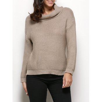Stylish Turtleneck Long Sleeve Pure Color Knitted Women Sweater