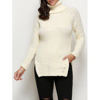 Buy Stylish Turtleneck Long Sleeve Pure Color Button Decoration Slit Design Women Sweater OFF WHITE