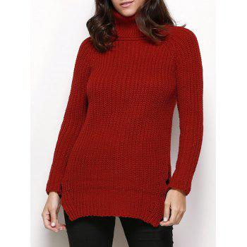 Stylish Turtleneck Long Sleeve Pure Color Button Decoration Slit Design Women Sweater