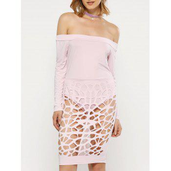 Off The Shoulder Long Sleeve Bandage Caged Dress