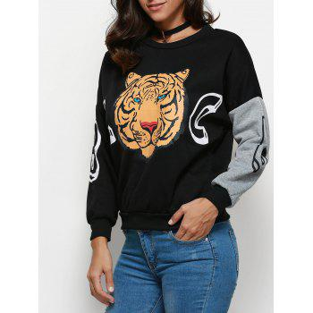 Trendy Round Collar Long Sleeve Tiger Print Pattern Women Blouse