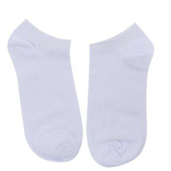 10pcs Casual Pure Color Cotton Breathable Ankle Socks for Men - WHITE WHITE