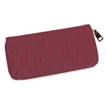 Guapabien Fashion Geometric Patterns Square Cross-section Large Capacity Women Clutch Wallet - WINE RED WINE RED