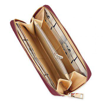 Guapabien Fashion Geometric Patterns Square Cross-section Large Capacity Women Clutch Wallet -  WINE RED