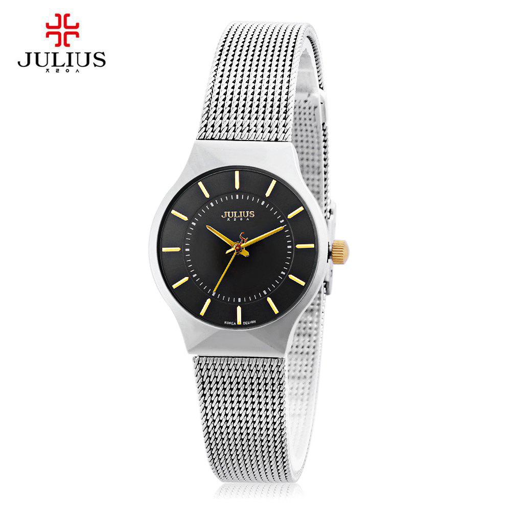 Julius JA - 577 Female Quartz Wrist Watch Ultrathin Stainless Steel Mesh Band - BLACK