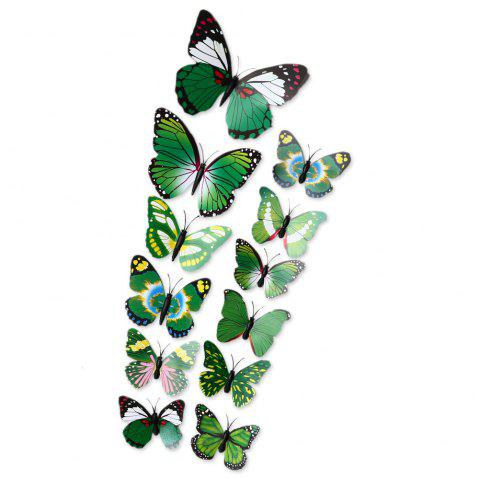 12pcs 3D Butterfly Wall Decor Stickers for Living Room Bedroom Office Decorations - GREEN