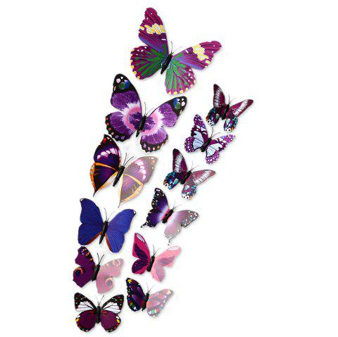 12pcs 3D Butterfly Wall Decor Stickers for Living Room Bedroom Office Decorations - PURPLE