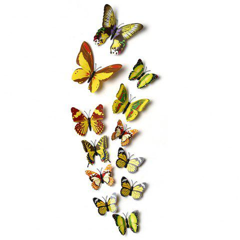 12pcs 3D Butterfly Wall Decor Stickers for Living Room Bedroom Office Decorations - YELLOW