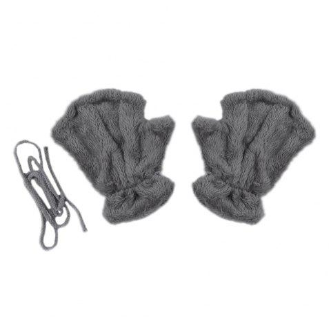 Cute Bear Claw Design Open Finger Thickening Warm Gloves for Women - GRAY