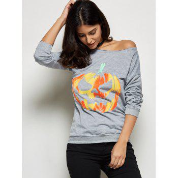 Pumpkin Lamp Print Halloween T-Shirt