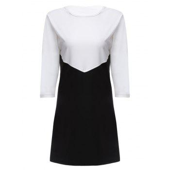 Stylish Round Collar Three Quarter Sleeve Color Block Women Bottom Dress