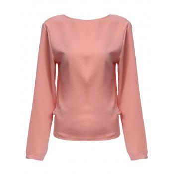 Sweet Round Collar Backless Bowknot Women Blouse