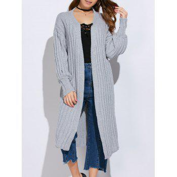 Collarless Rib Knitted Long Cardigan