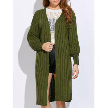 Collarless Rib Knitted Pure Color Women Cardigan