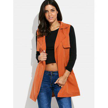 Turn-down Collar Long Vest Jacket with Belt - S S
