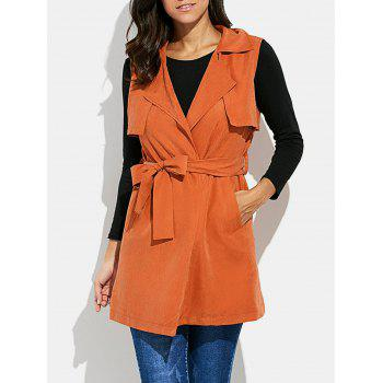 Turn-down Collar Long Vest Jacket with Belt - KHAKI S