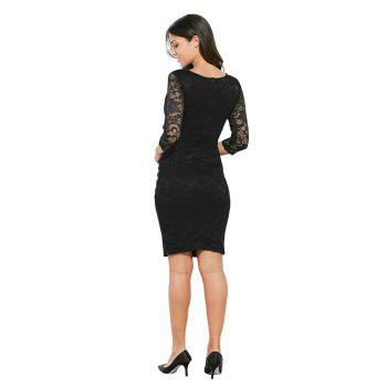 Midi Bodycon Dress With Lace Sleeves - PURPLE 2XL