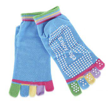 Yoga Socks Non-slip Skid with Full Toe Grips - LAKE BLUE LAKE BLUE
