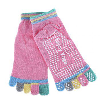 Yoga Socks Non-slip Skid with Full Toe Grips - LIGHT PINK LIGHT PINK