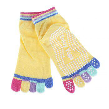 Yoga Socks Non-slip Skid with Full Toe Grips - DEEP YELLOW DEEP YELLOW