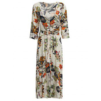 Old Classical  Style Plunging Three Quarter Sleeve Allover Print Waist Women Dress