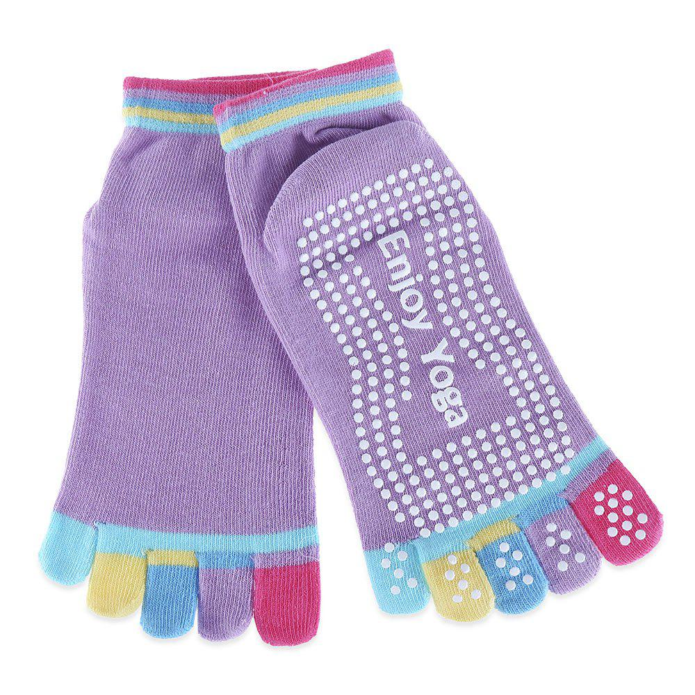 Yoga Socks Non-slip Skid with Full Toe Grips - LIGHT PURPLE