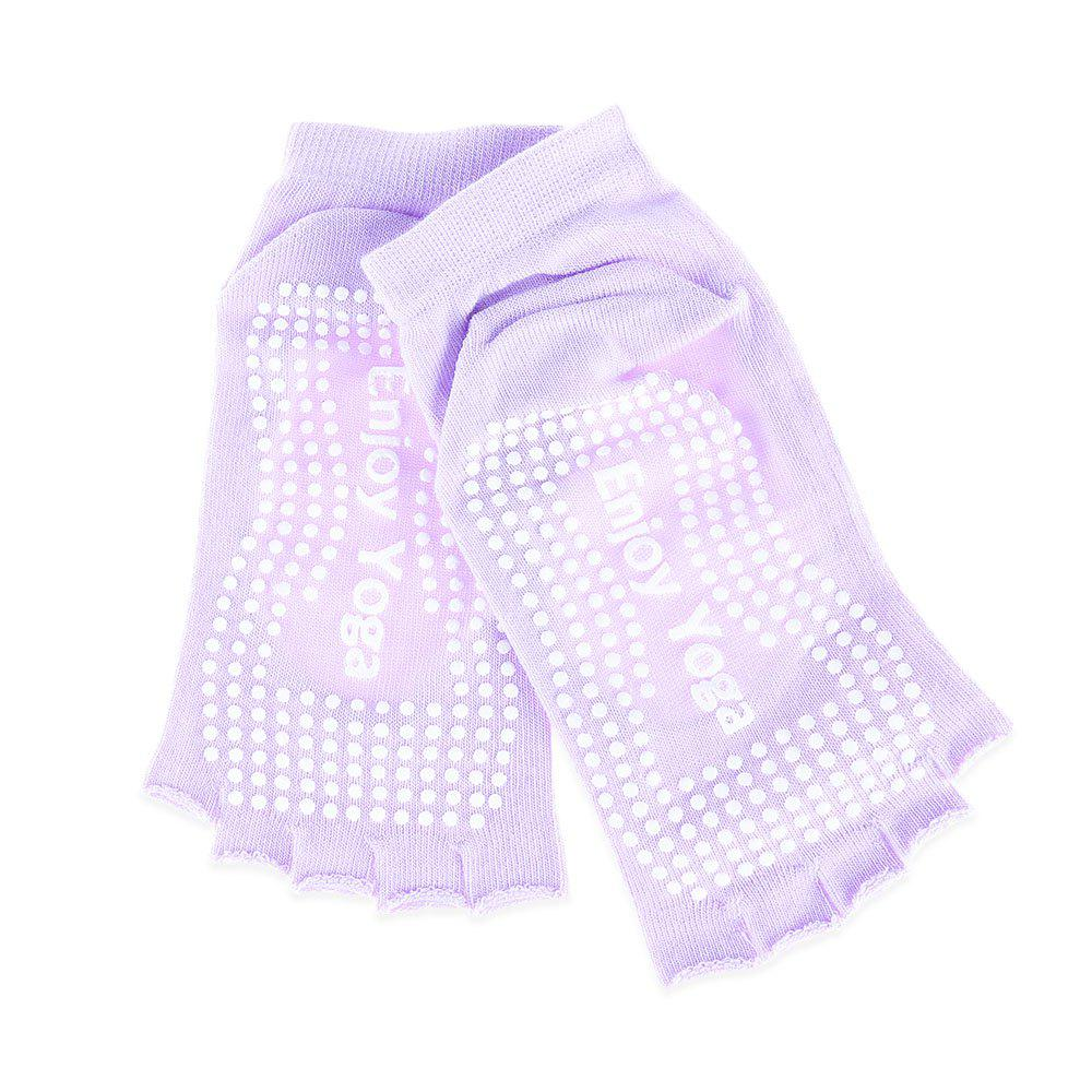Women Yoga Dance Sports Pilates Anti-Slip Exercise Massage Half Toe Socks - LIGHT PURPLE