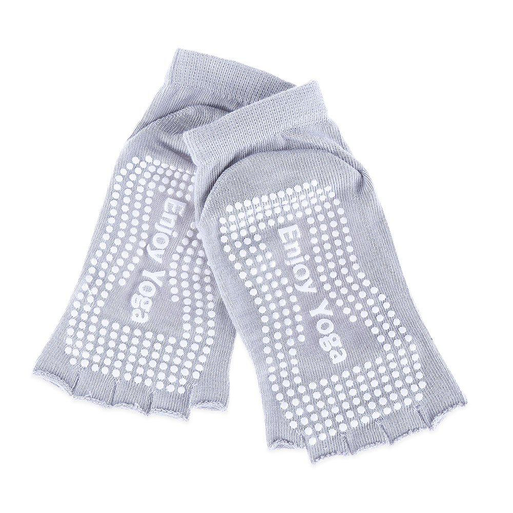 Women Yoga Dance Sports Pilates Anti-Slip Exercise Massage Half Toe Chaussettes - Gris