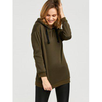 Casual Hooded Long Sleeve Drawstring Pure Color Hoodie for Ladies