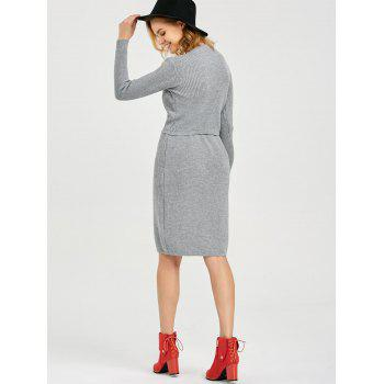 Stylish Round Collar Long Sleeve Pure Color Knitted Women Twinset - LIGHT GRAY L