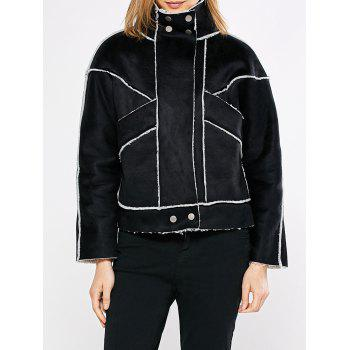 Chic Turn Down Collar Spliced Chunky Women Coat