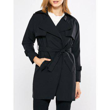Trendy Turn Down Collar Pure Color Women Trench Coat