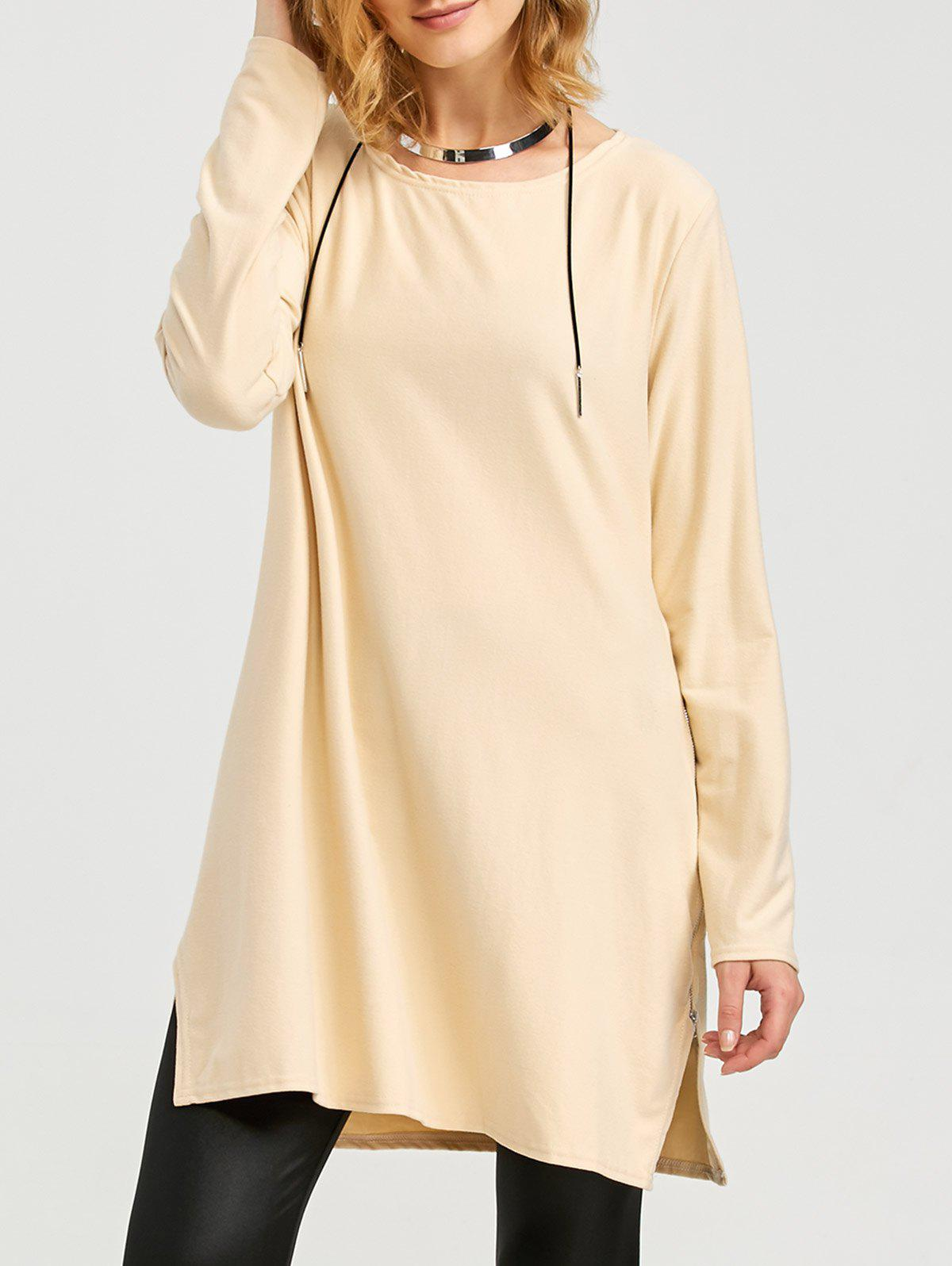 Fashion Round Collar Long Sleeve Pure Color Zipper Type Pollover Women BlouseWomen<br><br><br>Size: M<br>Color: APRICOT