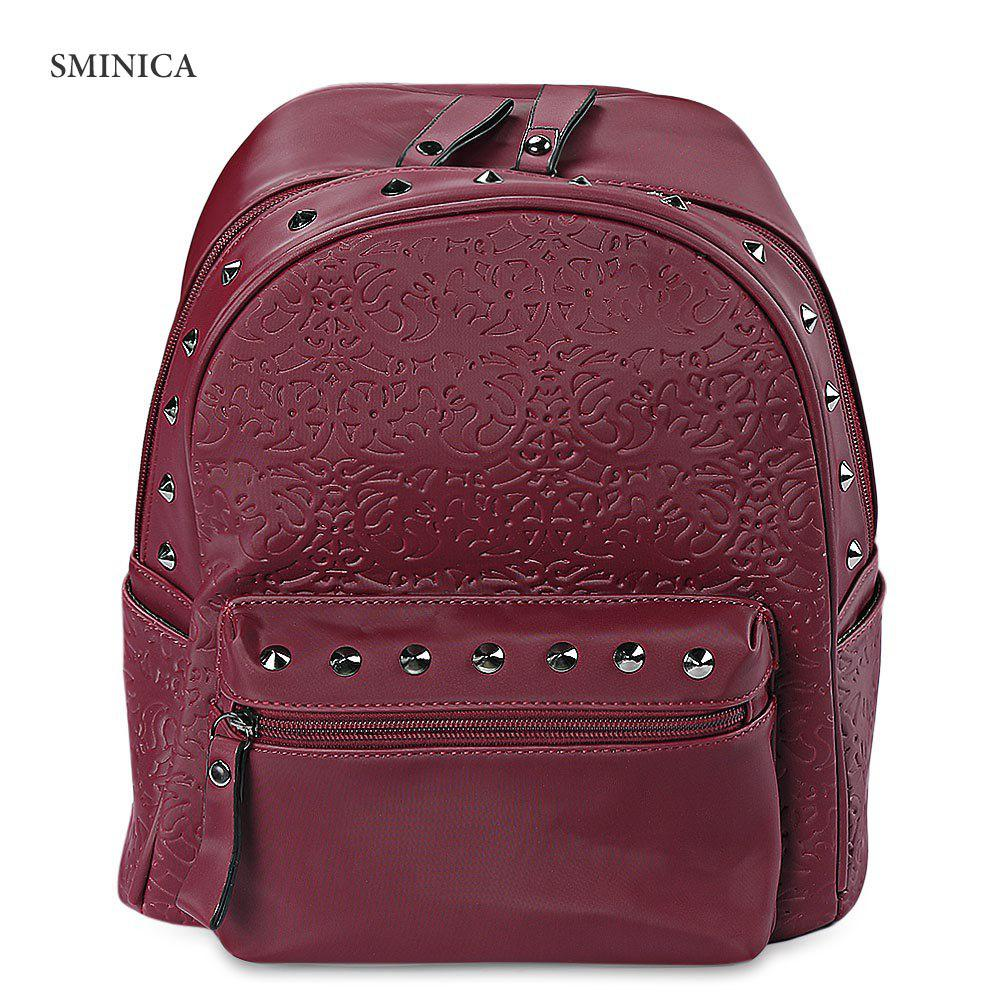 SMINICA Chic Rivet Embellished PU Leather Women Backpack - WINE RED