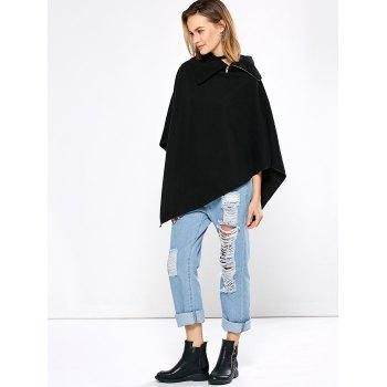 Simple Style Turn-down Collar Loose Women Cloak - BLACK L
