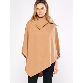 Simple Style Turn-down Collar Loose Women Cloak - CAMEL M