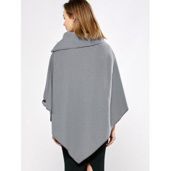 Simple Style Turn-down Collar Loose Women Cloak - GRAY L