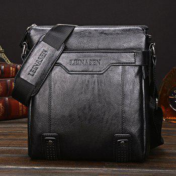 LEINASEN PU Leather Waterproof Men Briefcase Shoulder Bag -  BLACK