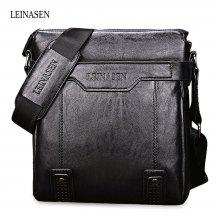 LEINASEN PU Leather Waterproof Men Briefcase Shoulder Bag