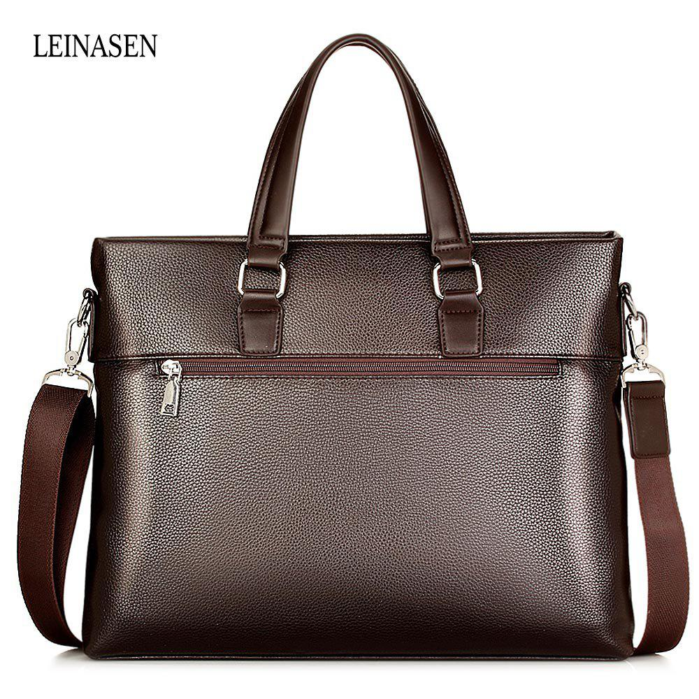 LEINASEN Classic Waterproof PU Men Convertible Tote Bag - BROWN
