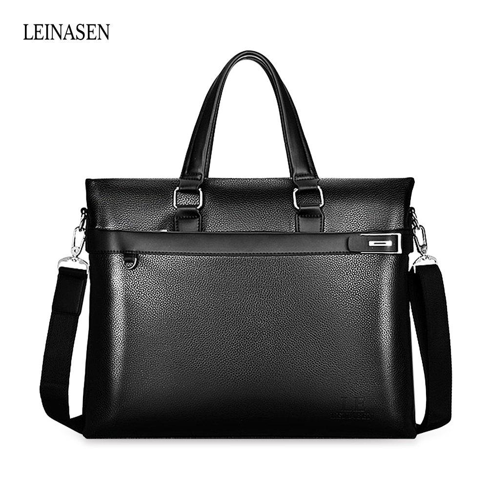 LEINASEN Classic Waterproof PU Men Convertible Tote Bag - BLACK