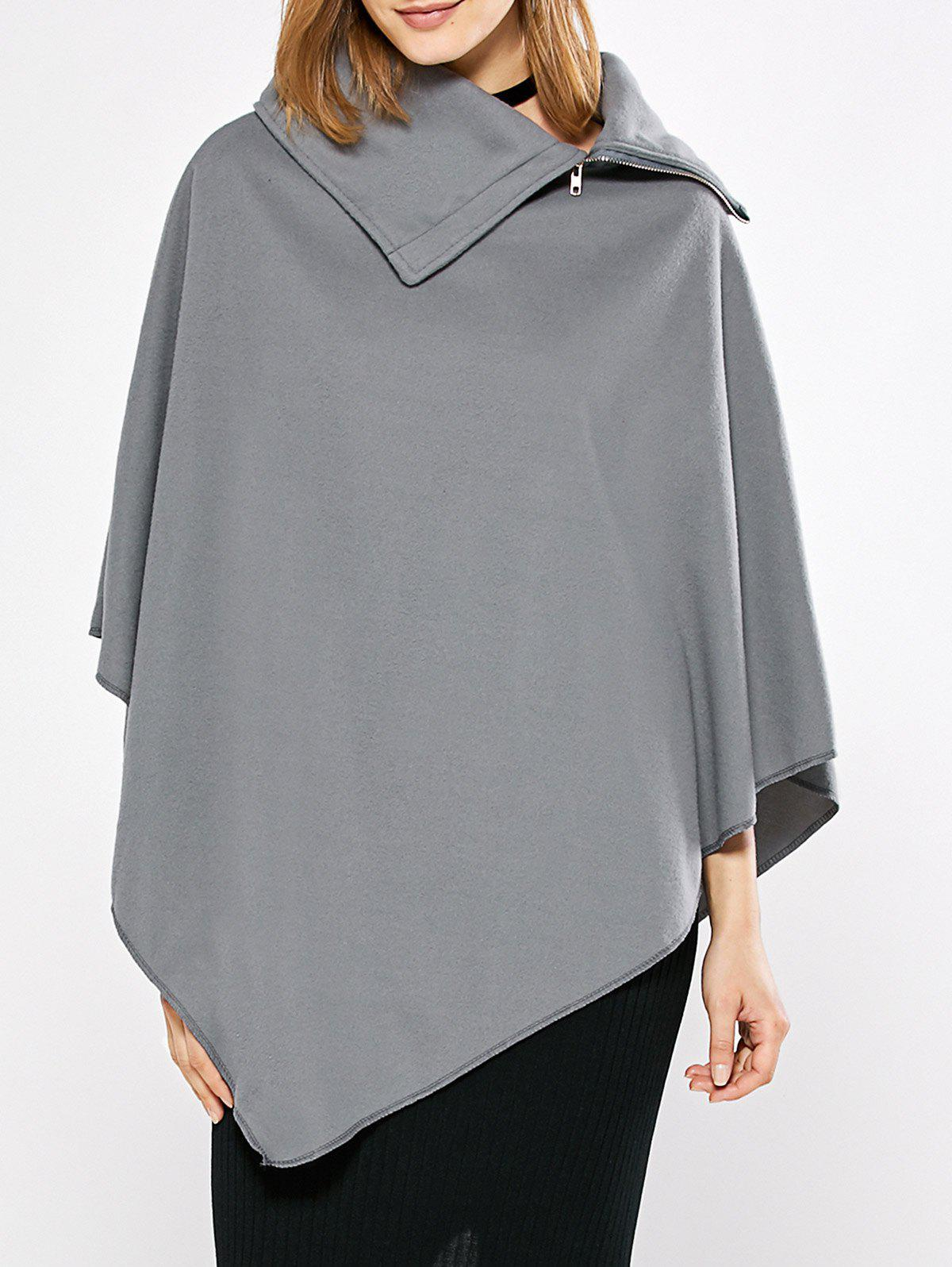 Simple Style Turn-down Collar Loose Women Cloak - GRAY M