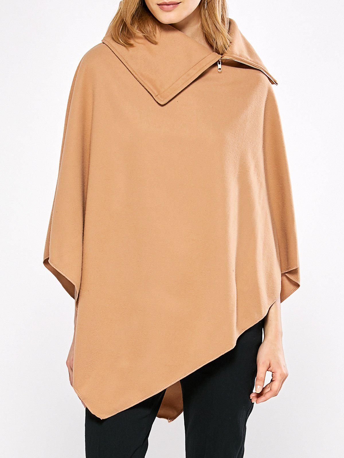 Simple Style Turn-down Collar Loose Women Cloak - CAMEL L