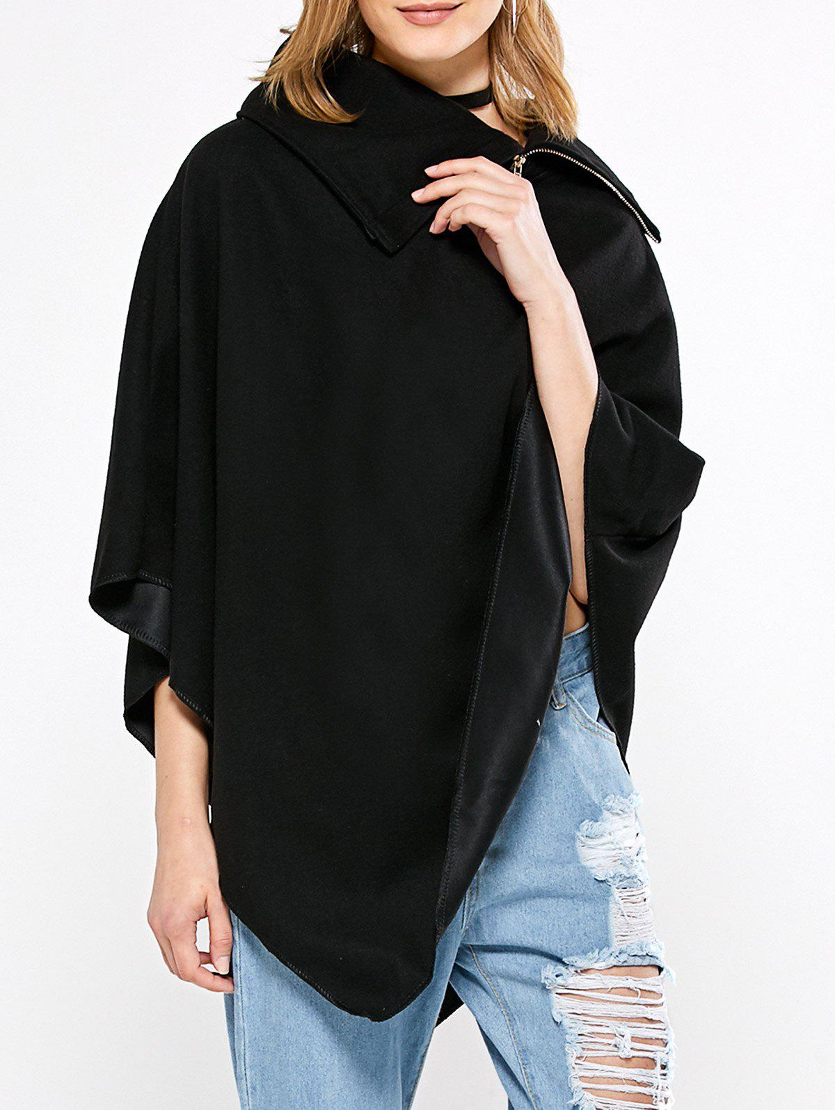 Simple Style Turn-down Collar Loose Women Cloak - BLACK M